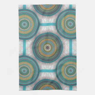 Colorful abstract ethnic floral mandala pattern kitchen towel