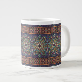 Colorful abstract ethnic floral mandala pattern large coffee mug