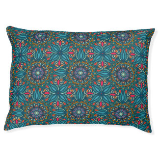 Colorful abstract ethnic floral mandala pattern large dog bed