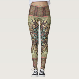 Colorful abstract ethnic floral mandala pattern leggings