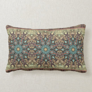 Colorful abstract ethnic floral mandala pattern lumbar pillow