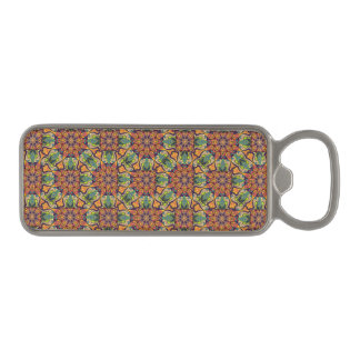 Colorful abstract ethnic floral mandala pattern magnetic bottle opener