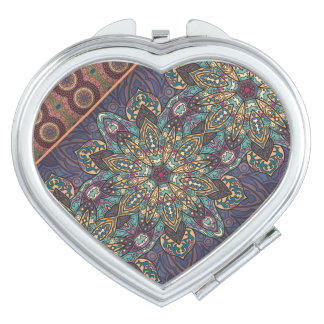 Colorful abstract ethnic floral mandala pattern makeup mirrors