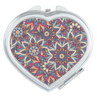 Colorful abstract ethnic floral mandala pattern mirror for makeup