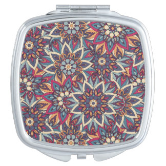 Colorful abstract ethnic floral mandala pattern mirrors for makeup