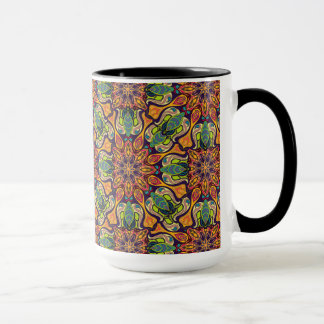 Colorful abstract ethnic floral mandala pattern mug
