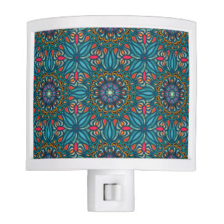 Colorful abstract ethnic floral mandala pattern nite lite