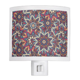 Colorful abstract ethnic floral mandala pattern nite lites