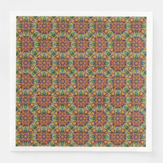 Colorful abstract ethnic floral mandala pattern paper dinner napkin