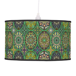 Colorful abstract ethnic floral mandala pattern pendant lamp