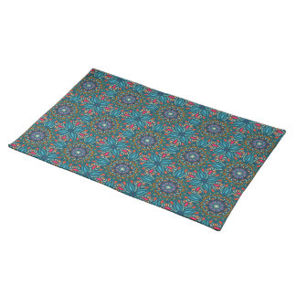 Colorful abstract ethnic floral mandala pattern place mat