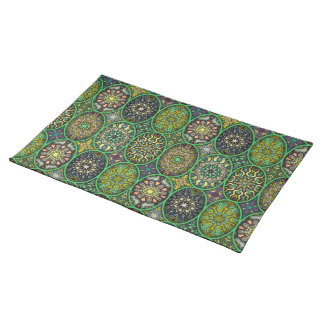 Colorful abstract ethnic floral mandala pattern placemats