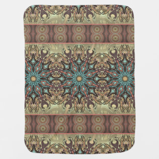 Colorful abstract ethnic floral mandala pattern receiving blankets