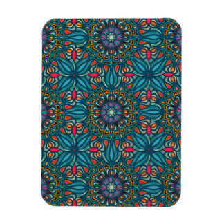 Colorful abstract ethnic floral mandala pattern rectangular photo magnet