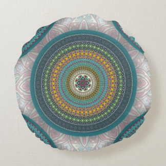 Colorful abstract ethnic floral mandala pattern round pillow