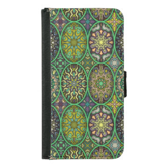 Colorful abstract ethnic floral mandala pattern samsung galaxy s5 wallet case