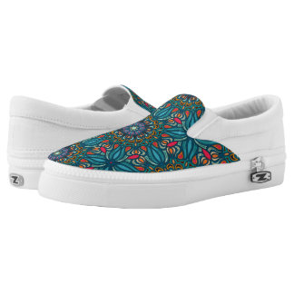 Colorful abstract ethnic floral mandala pattern Slip-On sneakers