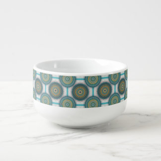 Colorful abstract ethnic floral mandala pattern soup mug