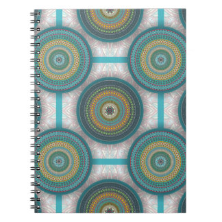 Colorful abstract ethnic floral mandala pattern spiral notebook