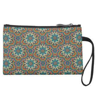 Colorful abstract ethnic floral mandala pattern suede wristlet