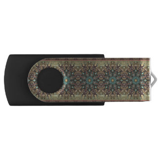 Colorful abstract ethnic floral mandala pattern swivel USB 2.0 flash drive