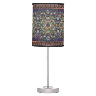 Colorful abstract ethnic floral mandala pattern table lamp
