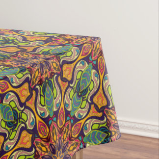 Colorful abstract ethnic floral mandala pattern tablecloth