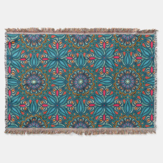 Colorful abstract ethnic floral mandala pattern throw blanket