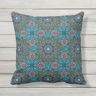 Colorful abstract ethnic floral mandala pattern throw pillow