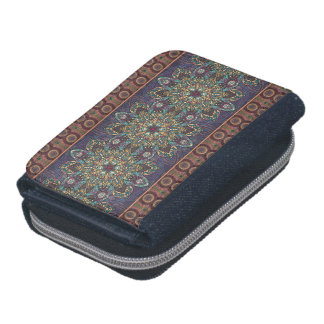 Colorful abstract ethnic floral mandala pattern wallet