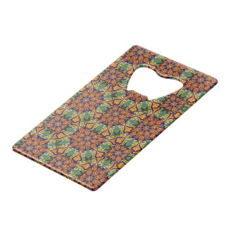 Colorful abstract ethnic floral mandala pattern wallet bottle opener