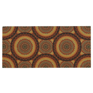 Colorful abstract ethnic floral mandala pattern wood USB flash drive