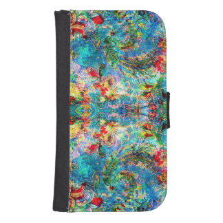 Colorful Abstract Floral Collage Galaxy S4 Wallet Cases