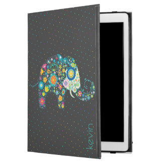 Colorful Abstract Floral Elephant & Dots Pattern