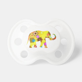 Colorful Abstract Floral Elephant Pacifier