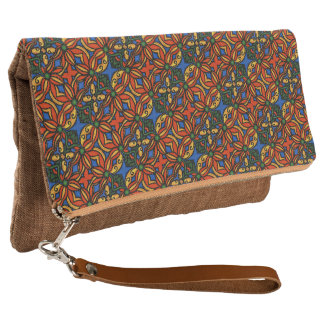Colorful Abstract Floral Pattern Clutch