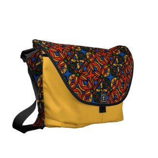 Colorful Abstract Floral Pattern On Yellow Commuter Bags