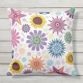 Colorful Abstract Floral Pattern Outdoor Pillow