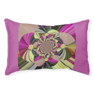 Colorful Abstract Floral Pattern Pet Bed