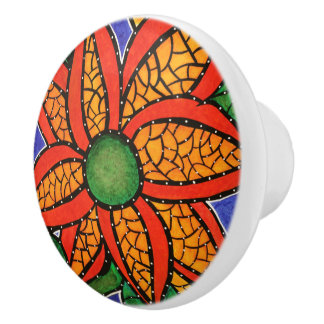 Colorful Abstract Flower  Bright Colors Ceramic Knob