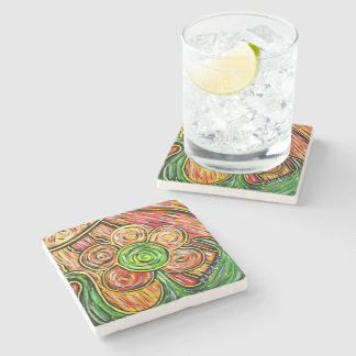 Colorful Abstract Flower Stone Coaster