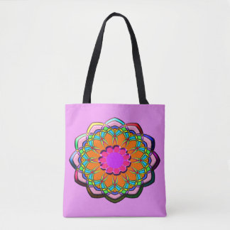 Colorful abstract flower tote bag