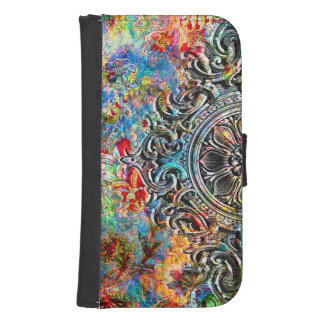 Colorful Abstract Flowers Collage Phone Wallet