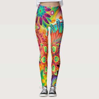 Colorful Abstract Flowers Leggings
