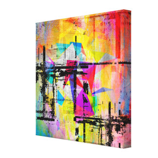 Colorful Abstract Geometric Abstract Landscape Canvas Print
