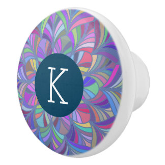 Colorful Abstract Geometric Design Ceramic Knob