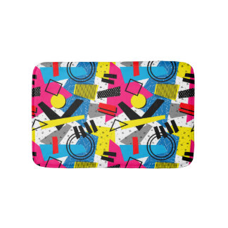 Colorful Abstract Geometric Eighties Pattern Bathroom Mat