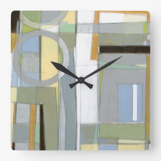 Colorful Abstract Geometric Shapes Square Wall Clock
