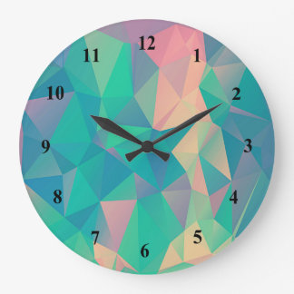 Colorful Abstract Geometric Triangles Shapes Forms Large Clock