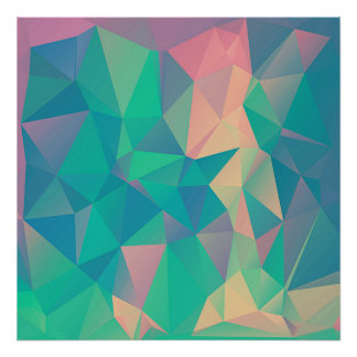 Colorful Abstract Geometric Triangles Shapes Forms Poster